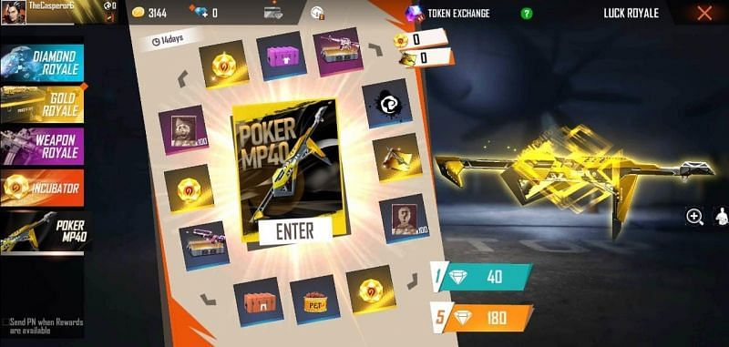 How to get Poker MP40 in Free Fire